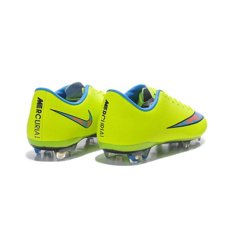 2014 crampons de foot nike mercurial vapor x fg homme jaune bleu. Black Bedroom Furniture Sets. Home Design Ideas