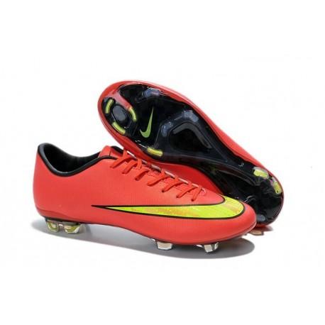 Chaussures de Football Nike Mercurial Vapor 10 FG Rouge Jaune