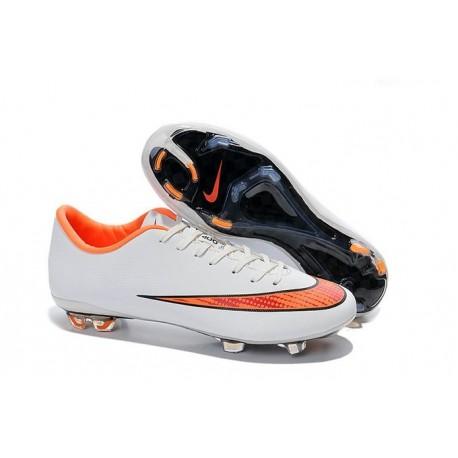 Chaussures de Football Nike Mercurial Vapor 10 FG Blanc Orange