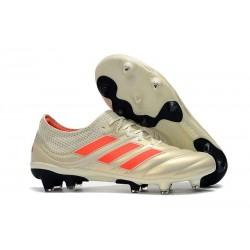 Chaussures de Football pour Hommes Adidas Copa 19.1 FG Blanc Cassé Rouge Solaire Noir