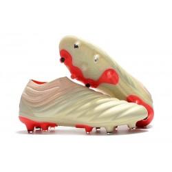 Nouvelles Crampons De Football Adidas Copa 19+ FG Blanc Cassé Rouge Solaire
