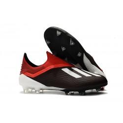 adidas X 18+ FG - Chaussures de Football Adidas Noir Rouge Blanc