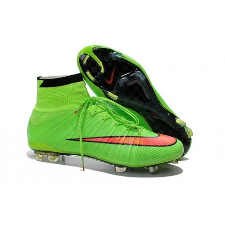 2014 Homme Chaussures Football Mercurial Superfly FG Vert Rouge