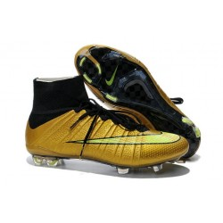 2014 Homme Chaussures Football Mercurial Superfly FG Or Noir
