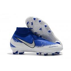 Crampons pour Hommes Nike Phantom VSN Elite DF FG Bleu Blanc Argent