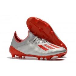 adidas X 19.1 FG Nouvelles Chaussure de Foot Argent Rouge