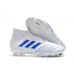 adidas Predator 19+ FG Nouvelles Chaussure Blanc Bleu