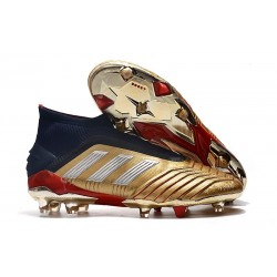 adidas Predator 19+ FG Nouvelles Chaussure Or Rouge Argent