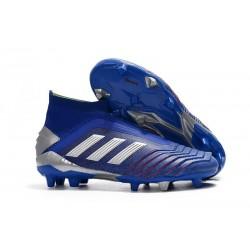 adidas Predator 19+ FG Nouvelles Chaussure Bleu Argent
