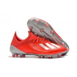 adidas X 19.1 FG Nouvelles Chaussure de Foot Rouge Argent