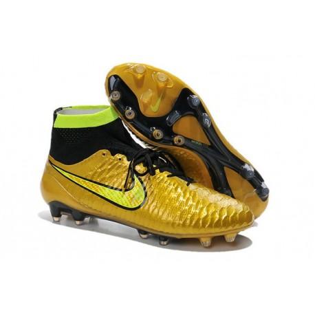 Coupe du Monde 2014 Chaussures Mercurial Magista Obra FG Or Noir Jaune