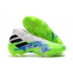 Adidas Nemeziz 19+ FG Crampons Nouvelles - Blanc Vert Bleu