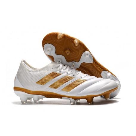 Chaussures de Football pour Hommes Adidas Copa 19.1 FG Blanc Or