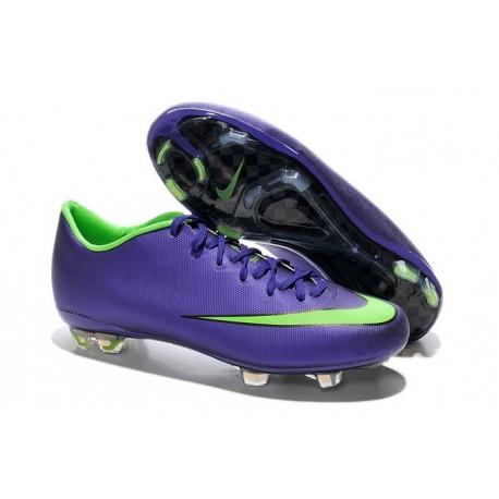 2014 Crampons de Foot Nike Mercurial Vapor 10 FG Homme Violet Vert