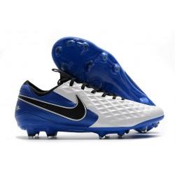 Crampon Nouvelles Nike Tiempo Legend 8 Elite FG Blanc Bleu