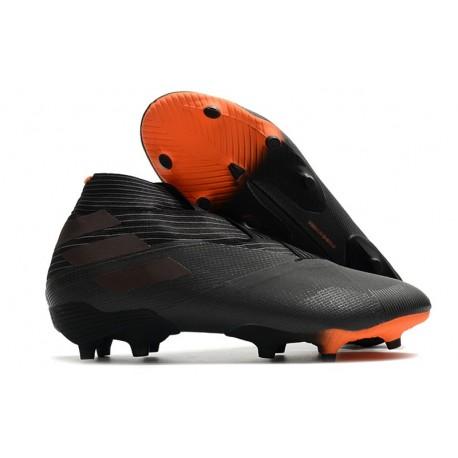 Adidas Chaussure de Foot Nemeziz 19+ FG Noir Signal Orange