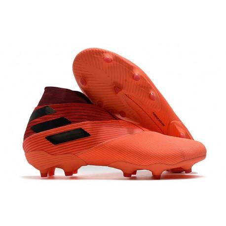 Adidas Chaussure de Foot Nemeziz 19+ FG Corail Noir Rouge Goire