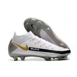 Chaussures 2021 Nike Phantom GT Elite DF FG Blanc Noir Rouge Or