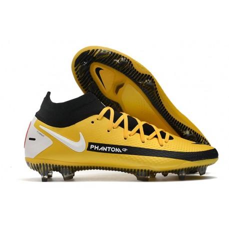 Chaussures 2021 Nike Phantom GT Elite DF FG Jaune Noir Blanc