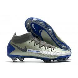 Crampons Nike Phantom GT Elite Dynamic Fit FG Argent Bleu