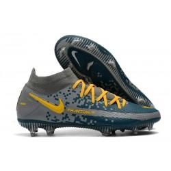 Chaussures 2021 Nike Phantom GT Elite DF FG Bleu Gris Jaune