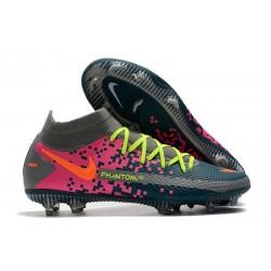 Chaussures 2021 Nike Phantom GT Elite DF FG Bleu Gris Rose