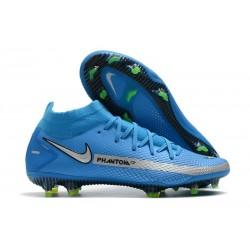 Chaussures 2021 Nike Phantom GT Elite DF FG Bleu Argent