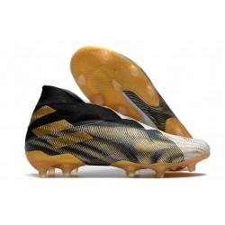 Adidas Chaussure de Foot Nemeziz 19+ FG Blanc Or Metallique Noir