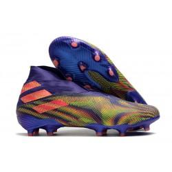 Adidas Chaussure de Foot Nemeziz 19+ FG Violet Vert Rose