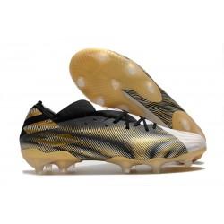 Chaussures de foot adidas Nemeziz 19.1 Fg Blanc Or Metallique Noir