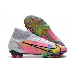 Chaussure à Crampons Nike Mercurial Superfly 8 Elite FG Blanc Multicolore