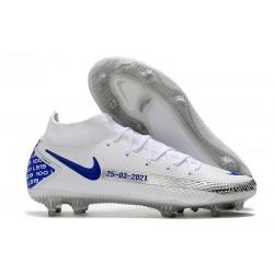 Chaussures 2021 Nike Phantom GT Elite DF FG Blanc Bleu