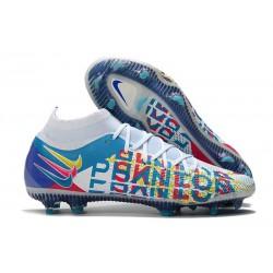 Chaussures 2021 Nike Phantom GT Elite DF 3D FG Blanc Bleu Rose Jaune