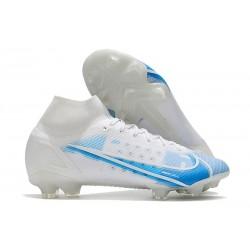 Chaussure à Crampons Nike Mercurial Superfly 8 Elite FG Blanc Bleu