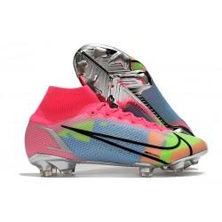 Chaussure à Crampons Nike Mercurial Superfly 8 Elite FG Rose Bleu Vert