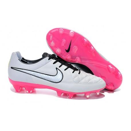 2014/2015 Chaussures Nike Tiempo Legend V FG Homme Blanc Noir Rose