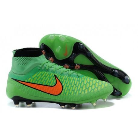Nouvelle Homme Cramspon de Foot Nike Magista Obra FG Vert Orange Noir