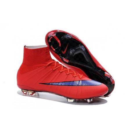 2015 Homme Chaussures Football Mercurial Superfly FG Rouge Vif Violet Persan Noir