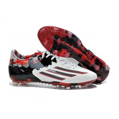 Chaussures de Foot Adidas F50 adizero Messi FG Pibe De Barr 10 10.1 Rouge Blanc Noir