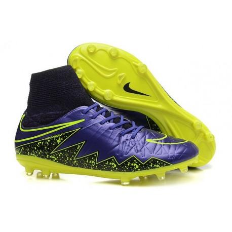 Hommes Nike HyperVenom Phantom II FG Chaussures de football ACC Violet Noir Jaune