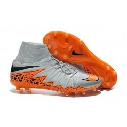 Nouvelles chaussures Nike HyperVenom Phantom II FG Football Crampons Loup Gris Orange Noir