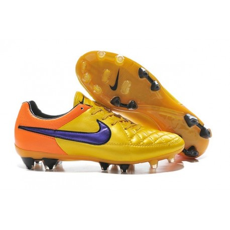 Nouvelle Chaussure de Football Nike Tiempo Legend V FG Orange Laser Violet Persan