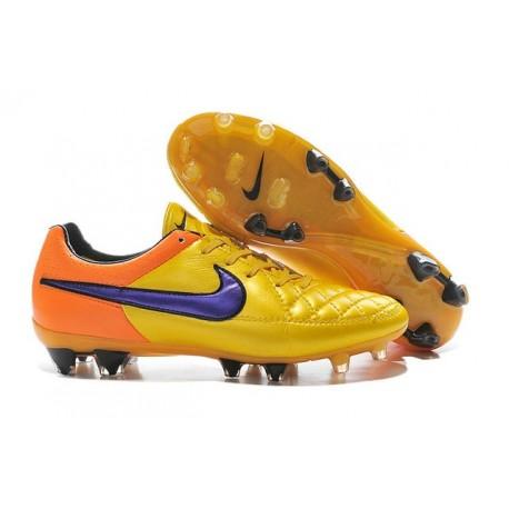 Nouvelle Chaussure de Football Nike Tiempo Legend V FG Orange Laser Violet Persan