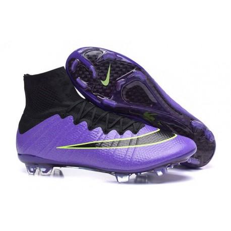 2015 Homme Chaussures Football Mercurial Superfly FG Violet Vert Noir