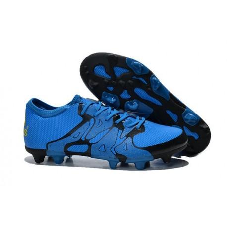 2015 Adidas Chaussures de Foot X 15.1 FG / AG - Crampons Hommes Bleu Noir