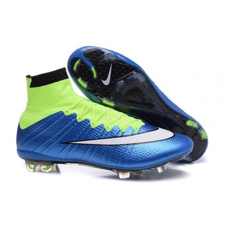 2015 Homme Chaussures Football Mercurial Superfly FG Blue Volt Blanc Noir
