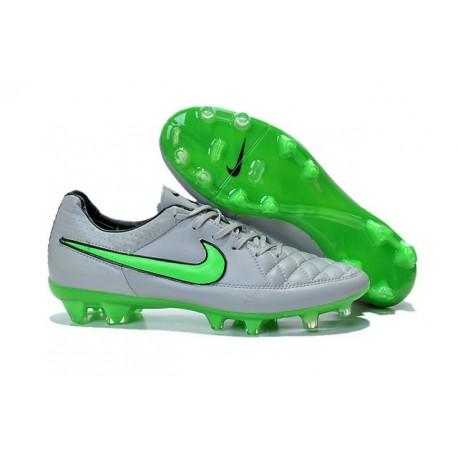 Chaussure de Football Nike Tiempo Legend V FG Pas Cher Gris Loup Vert Noir