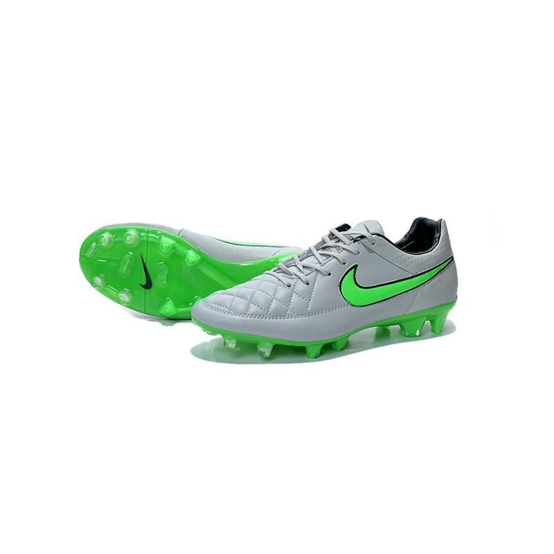 cheaper cbdb4 4b3d3 ... Chaussure de Football Nike Tiempo Legend V FG Pas Cher Gris Loup Vert  Noir ...