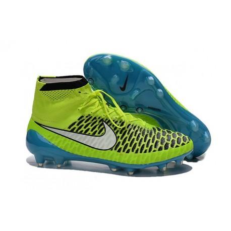 Nouvelle Homme Cramspon de Foot Nike Magista Obra FG Volt Blanc Bleu Lagon Noir
