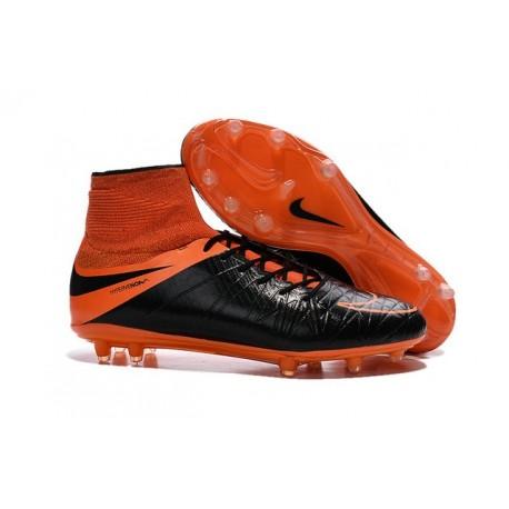 Nouvelles chaussures Nike HyperVenom Phantom II FG Football Crampons Cuir FG Noir Orange Total